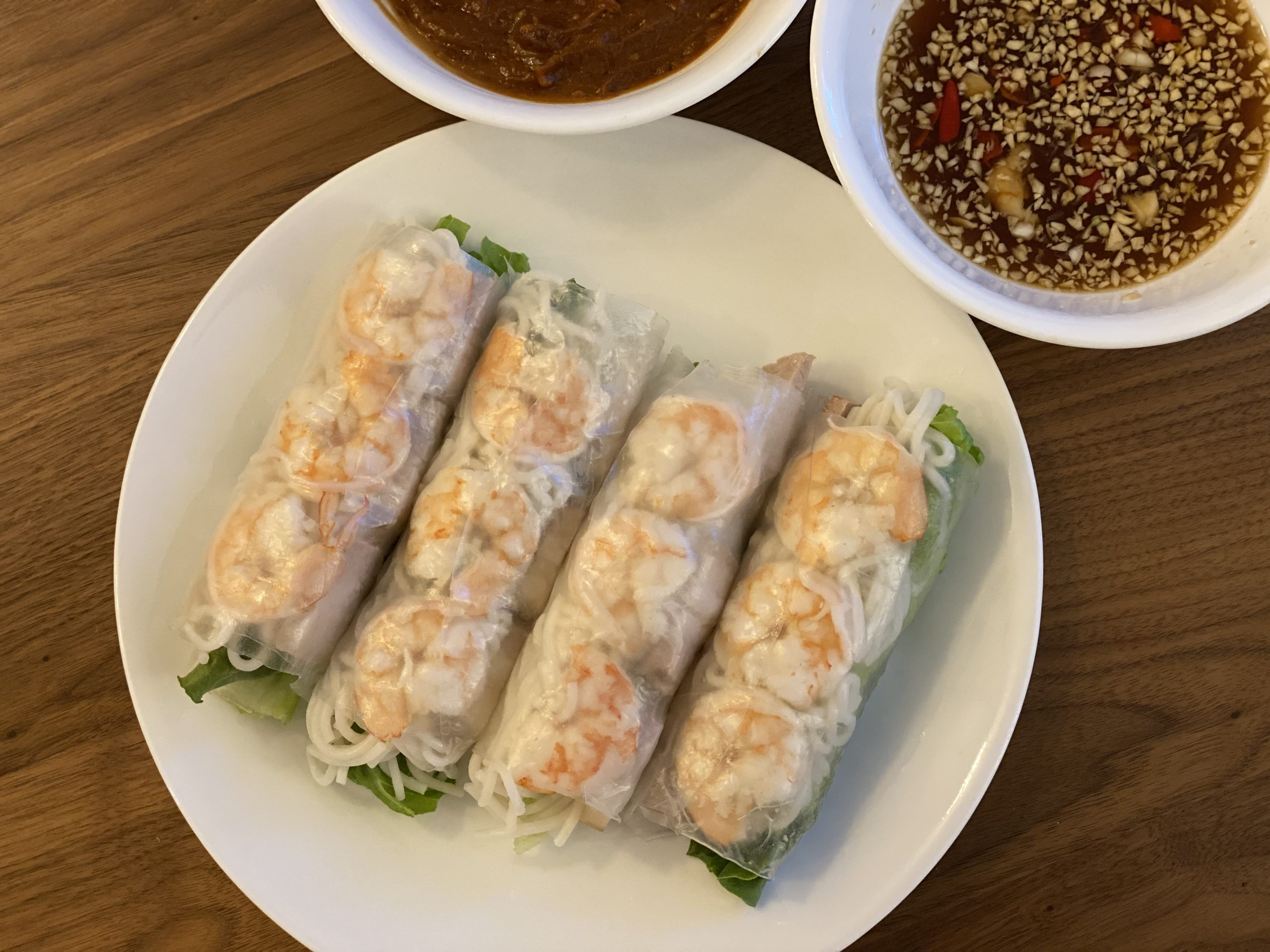 Vietnamese Spring Rolls with Shrimp and Pork and Peanut Sauce + Fish Sauce (Goi Cuon Tom Thit)